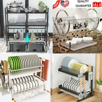 Over the Sink Dish Drying Rack - Adjustable 2-Tier Large Dish Dryer Rack Kitchen