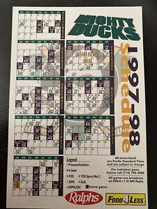 RARE 1997-98 Anaheim Mighty Ducks Magnet NHL Schedule SGA