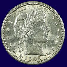 Barber Silver Quarter Dollar,1906 P Choice BU MS PQ Lot # 9010-90-0005