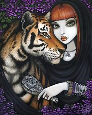 Fairy Tiger Soul Mates Fantasy Flower Fae Sam Lilah CANVAS Print Signed Myka