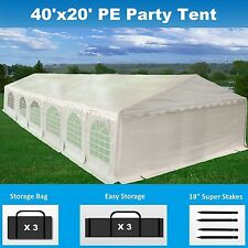 40' x 20' PE Party Tent - Heavy Duty Carport Canopy Wedding  Shelter - White