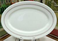 "O.P. CO SYRACUSE CHINA RESTAURANT WARE RED & BLUE STRIPE 13 3/4"" OVAL PLATTER"