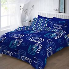 Geometric Print Reversible Stripe King Size Duvet Quilt Cover Cotton Bedding Set