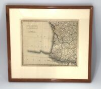 Vintage Map of the Southwest France Framed