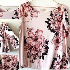 PHASE EIGHT Pink Floral Kimono Slv Blouse Blouson Top 12 Smart Work Spring