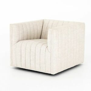 """34"""" D Box Fabric Swivel Chair Striped Vertical Texture White Polyester Modern"""