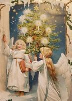 Vintage postcard Christmas greetings Raphael tuck tucks1908 angels a2-246
