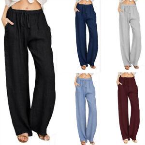 Womens Cotton Linen Trousers Baggy Wide Legs Beach Loose Long Pants Yoga Casual