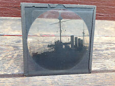 "Antique Glass Slide Negative ""4 Stack Steamer Military Ship"""