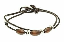 Brown Leather Strap Bracelet Wristband Triple Beads Surf Surfer