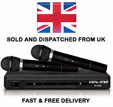 Vocal-Star Vsvfm Dual 2 VHF Wireless Cordless Microphones for Karaoke DJ PA Xdem