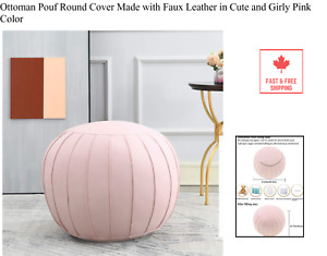 Ottoman Pouf Round Cover Made with Faux Leather in Cute and Girly Pink Color