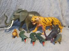 9 mixed Plastic Animals elephant,tiger,lion,gorilla,crocodiles and dinosaurs