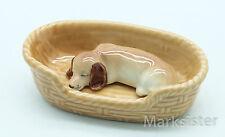 Figurine Animal Miniature Ceramic Golden Retriever Dog Sleep in Basket - CDG042