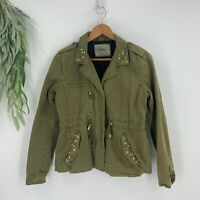 Zara Trafaluc Jacket Womens Size Large L Green Military Style Studded BLazer