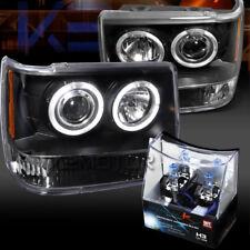93-96 Jeep Grand Cherokee Black Halo Projector Headlights+H3 Halogen Bulbs