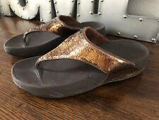 FitFlop Electra Bronze Brown Sequins Flip Flops Thongs Sandals Women's Size 9 M