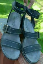 Naot '' Beatnik Oily Coal '' Leather Sandal / Ankle Strap Stacked Heel  7 / 38