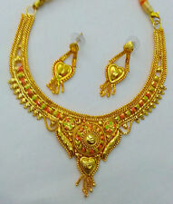 Indian Wedding Bridal Suit Jewelry 22K/24k Gold Plated Enamel Necklace Earrings