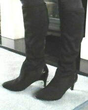 DEBENHAMS BLACK FAUX SUEDE / PATENT TRIM PULL ON HIGH BOOTS UK 7 / 40 NEW (G)