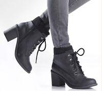 Blowfish Mystery Black Block Heel Women's Military Ankle Boots Black UK 3,8 Boot