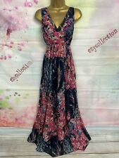 MONSOON EXCELLENT FLOATY PINK/BLUE FLORAL MAXI FULL LENGTH DRESS SIZE 16