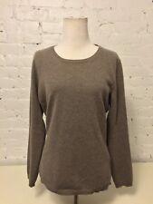 Fabiana Filippi Wool Cashmere Scoop Pullover Sweater Long Sleev Heather Tan 46 L