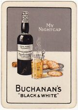 Playing Cards 1 Swap Card - Old Vintage Wide BLACK & WHITE Whisky MY NIGHTCAP
