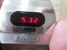 Bulova VINTAGE LED Running MENS STAINLESS WRIST Watch WITH ORIGINAL BAND