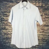 BROOKS BROTHERS Mens Solid Blue Short Sleeve Dress Shirt 16 Slim Fit Non-Iron