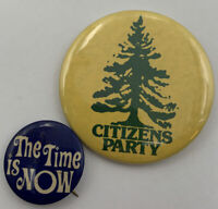 Citizen's Party Pinback The Time is Now Lot Of 2 Vintage Button 20-2048AX