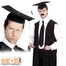 Black Teachers Fancy Dress Gown Costume + Mortar Hat Headmaster Graduate Uniform