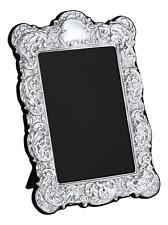 "CARRS - Sterling Silver Photo Frame Victorian design Velvet Back - 6"" x 4"""