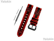 Red & Black Skull Crossbones Leather Band for Huawei Watch GT 2 & GT 46mm -B22