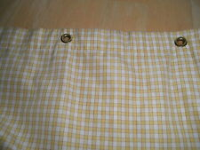 Linen Stored Cotton Heavy Lined Curtain Grommet Hole Yellow White Teeny Check