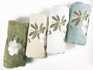 High End Embroidered Turkish Cotton Towel - Magnolia Design - Multiple Colors