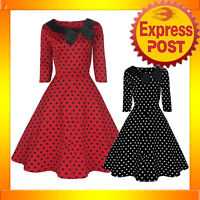 RK58 Rockabilly Polka Dot Parisian Swing Dress Black Red 50s Retro Pin Up Plus