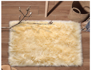 Super Soft Faux Fur Area Rug 2'x3' Bedroom Sofa Living Room Fluffy light yellow