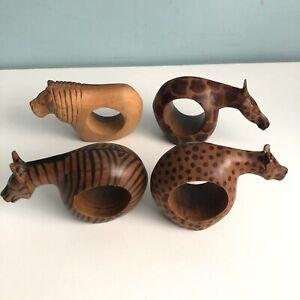Set Of 4 Carved Wooden Napkin Rings African Safari Animals Giraffe Lion Zebra