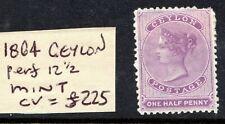 CEYLON QV 1864 SG48 1/2d mauve wmk Crwn CC couple pulled perfs MINT. Cat £255
