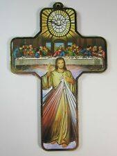 "Divine Mercy / Last Supper Picture Wall Cross on Wood  5"" Made in Italy"