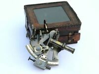 Beautiful Brass Marine Nautical Sextant Navigation Astrolabe Maritime Leather