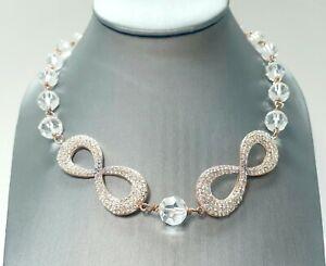 Akkad Jewelry Crystal Beaded Necklace Clear Purple Rhinestone Rose Gold Tone