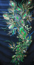 Gorgeous Peacock Feather Eye motif Sequin Fabric (Black) BB 517 Pattern