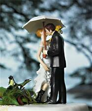Romantic Kiss Bride and Groom Silhouette Figurine Wedding Cake Topper In Stock