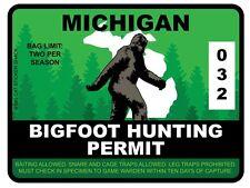 Bigfoot Hunting Permit - MICHIGAN (Bumper Sticker)