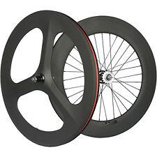 Hot Fixed Gear Carbon Wheelset Front 70 Tri Spoke Rear 88mm Track Wheel Clincher
