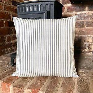 1022. GREY TICKING STRIPE 100% Cotton Cushion Cover, Various sizes