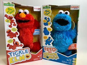 Lot of 2 Tickle Me Elmo + Feed Me Cookie Monster Sesame Street Playskool NEW