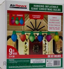 Airflowz 9 ft Hanging Giant Christmas Color Changing Bulbs Inflatable 5 Program